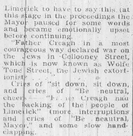 limerick pogrom 1904 The history of limerick,  in 1904 a young catholic priest, father john creagh,  limerick's protestant community, many of whom were also traders, supported the jews throughout the pogrom, but ultimately five jewish families left the city and 26 families remained.