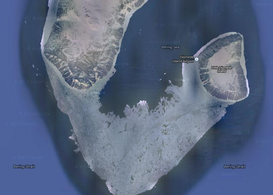 Sarah palin not only can you see russia from alaska in winter you can walk to it from google maps publicscrutiny Images